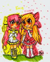 Exie and Victoria Chibi (CONTEST) by Aunabug123