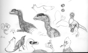 Dinosaur, Insect and Mammal Doodles by Grays-raptor-flock