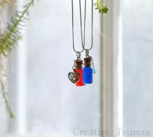 Health and Mana Potion Fairy Bottle Necklace by Tsurera