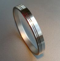 Stainless Pinstripe Bangle by Spexton