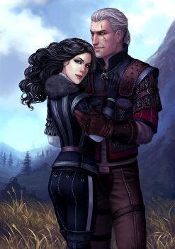 Geralt and Yennefer by Neirr