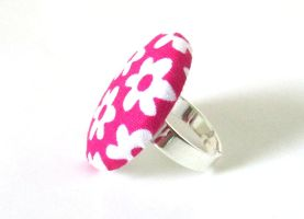Large big pink ring white bright happy flower cute by KooKooCraft
