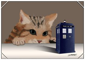 Cat and Tardis by DebyBee
