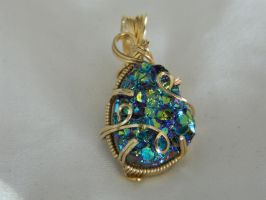 Titanium druzy in gold by DPBJewelry