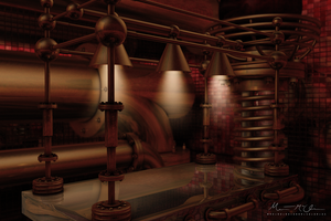 3D Steampunk Laboratory Table by soulphonic1