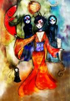 Geisha and the spirits by stolenwings