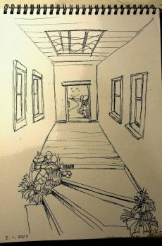 Pen and ink stairwell by JingTingWei
