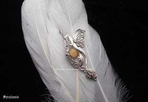 'Fairy wings', handmade sterling silver pendant by seralune