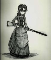 Annabelle Whateley with Gun by TalentlessHacked