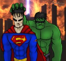 VS : Hulk-Superman by ebbewaxin