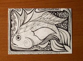 Fanciful Fish Pen and Ink ACEO by MandarinMoon