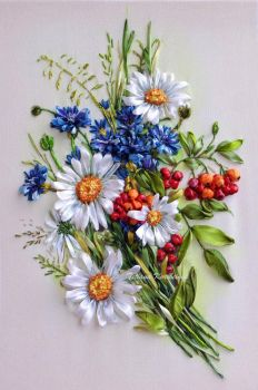 Wildflowers, ribbon embroidery, picture for frame by TetianaKorobeinyk