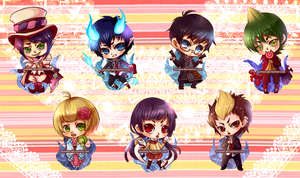 AnE Chibi Keychains by quinkee
