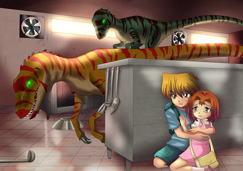 [Commission] Raptors in the Kitchen by Cleopatrawolf