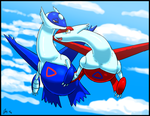 Sky Siblings Latios and Latias by Fiidchell
