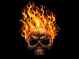 Flamin Skull wallpaper by waste84