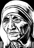 MOTHER TERESA IN BLACK AND WHITE by kevinandy