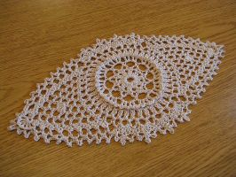 Unique Eye Shaped Doily in Beige, No. 69 by doilydeas