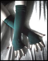 Midnight Green Arm Warmers by ZenAndCoffee