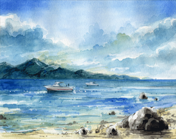 Watercolor beach by MyCKs
