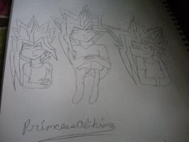 Atem and his sons. by BlueRosePetalsQueen