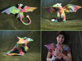 Rainbow stuffed dragon by Skylanth