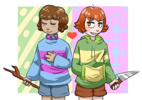 Frisk and Chara by Clementira