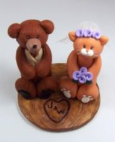 Bear and Cat Wedding Cake Topper by HeartshapedCreations
