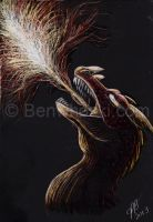 ACEO Red Dragon's Flame by benwhoski