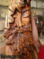 Green Man STaff:  His face by Black-Feather