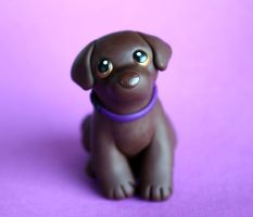 Anya chocolate lab dog sculpture by SculpyPups