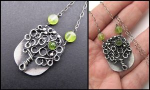 silver tree peridot pendant by annie-jewelry