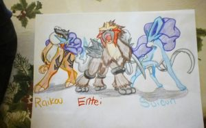 Pokemon Raikou, Entei, Suicune by EclipseQuest2