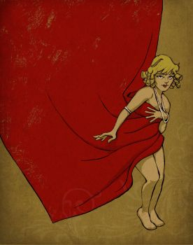 A red curtain illustration by LEBsculpteure