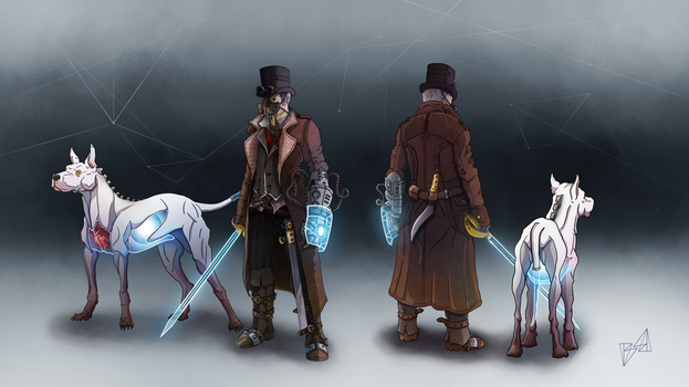 Steampunk character design with cyborg companion by balinee