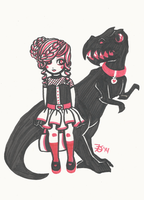 Girl and her Dinosaur by death-g-reaper