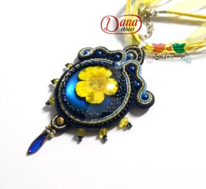 Buttercup blue soutache pendant by KicsiyuDesign