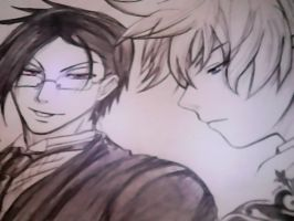 Sebastian Michaelis and Alois Trancy Drawing by me by w1eseluchiha