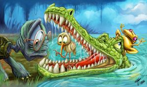 Alligator at the dentist by timwell