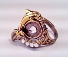 Dolphin Over Wave Ring by SteamDesigns