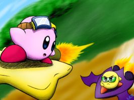 Kirby vs. Yellow Kirby by TheEternalFlare