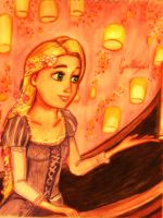 Rapunzel with the lights ( Disney Tangled ) by GuillermoAntil