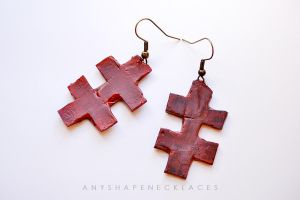 Marilyn Manson double cross earrings by AnyShapeNecklaces