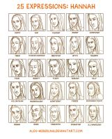 25 Expressions - Hannah by alex-heberling
