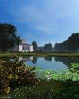 Pond in old park by slepalex