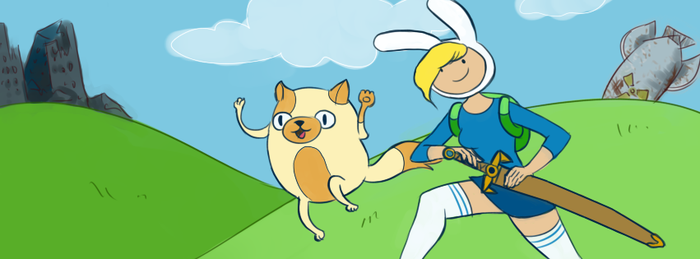 Adventure Time with Fionna and Cake by indierobot