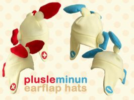Plusle and Minun Earflap Hats by cuddlecraft