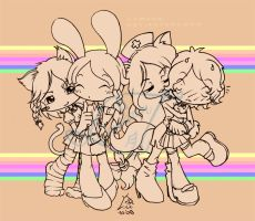 Commission: four cute girls by Lumaga