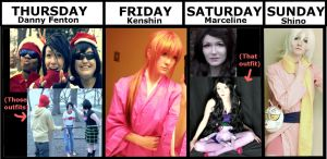 A-kon Cosplay Schedule! by LALASOSU2