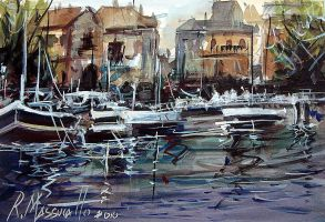 Marina in watercolour by ricardomassucatto
